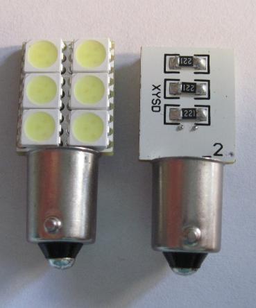 Automotive LED Light BA9S 6SMD Error Free